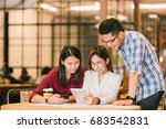 young asian college students or ... | Shutterstock . vector #683542831
