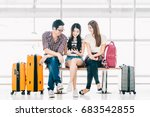 group of young asian travelers... | Shutterstock . vector #683542855