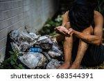 selective focus hands poor... | Shutterstock . vector #683544391