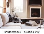warm inviting interior with gas ... | Shutterstock . vector #683561149