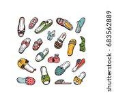Colorful Shoes Vector Set. Han...