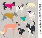 set of dogs silhouette. vector. | Shutterstock .eps vector #683564581