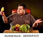 diet fat man eating healthy... | Shutterstock . vector #683569315