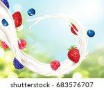 flowing milk with fruits ... | Shutterstock .eps vector #683576707