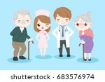 doctor with old couple on the... | Shutterstock .eps vector #683576974