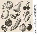 doodle set   vegetables | Shutterstock .eps vector #68358172