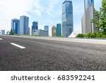 empty asphalt road and modern... | Shutterstock . vector #683592241