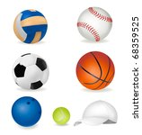 set of sport balls and tennis... | Shutterstock .eps vector #68359525