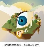surrealistic eye and clocks... | Shutterstock .eps vector #683603194