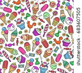 vector seamless pattern with... | Shutterstock .eps vector #683607505