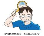 trouble of hair loss for men  ... | Shutterstock .eps vector #683608879