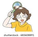 trouble of hair loss for women  ... | Shutterstock .eps vector #683608891