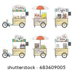 vector set of tricycle bike and ... | Shutterstock .eps vector #683609005