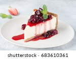 slice of cheesecake with berry... | Shutterstock . vector #683610361