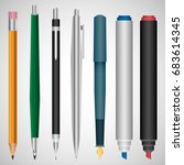 set of realistic 3d pen and... | Shutterstock .eps vector #683614345