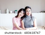 mother and teenage daughter... | Shutterstock . vector #683618767