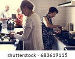 senior friends cooking food...   Shutterstock . vector #683619115