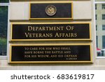 Small photo of WASHINGTON DC - JUNE 22, 2017 US Department of Veteran Affairs Washington DC. Veteran Affairs starts Revolutionary War. Abraham Lincoln's quote is famous. Veteran Affairs start 1930