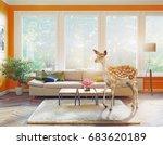 the wild deer in the living...   Shutterstock . vector #683620189