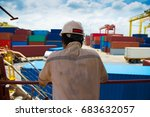 duty officer is checking cargo... | Shutterstock . vector #683632057