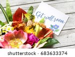 get well soon message with... | Shutterstock . vector #683633374
