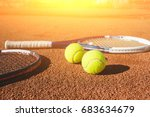 tennis balls and racket on the... | Shutterstock . vector #683634679