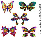 set of multicolored decorative... | Shutterstock .eps vector #683634934