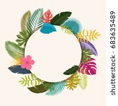 tropical leaves floral vintage... | Shutterstock .eps vector #683635489