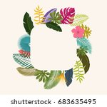 tropical leaves floral vintage... | Shutterstock .eps vector #683635495