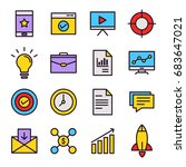 seo icons with flat color style | Shutterstock .eps vector #683647021