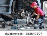 a mechanic repairs a truck.... | Shutterstock . vector #683647807