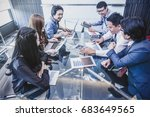 group of asian business people... | Shutterstock . vector #683649565