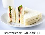 sandwich and milk glass. | Shutterstock . vector #683650111