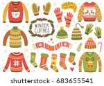 vector set of cute winter... | Shutterstock .eps vector #683655541