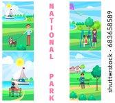 national park in summer time... | Shutterstock .eps vector #683658589