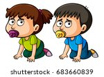 boy and girl toddlers crawling... | Shutterstock .eps vector #683660839