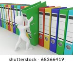 men with archive from folders... | Shutterstock . vector #68366419