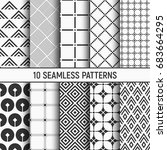 set of ten seamless patterns.... | Shutterstock .eps vector #683664295