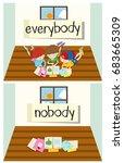 opposite word for everybody and ... | Shutterstock .eps vector #683665309