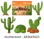 desert field with cactus plants ...   Shutterstock .eps vector #683665621