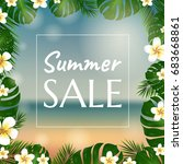 sale poster with palm trees and ... | Shutterstock . vector #683668861