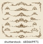 royal victorian filigree design ... | Shutterstock .eps vector #683669971