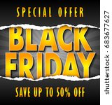 black friday lettering on dark... | Shutterstock .eps vector #683677627