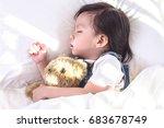 little asian girl sleeping in...   Shutterstock . vector #683678749