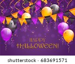 lettering happy halloween on... | Shutterstock .eps vector #683691571