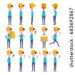set of young man in casual... | Shutterstock .eps vector #683692867
