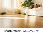 simple hammock over sand and...   Shutterstock . vector #683692879