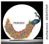 peacock.  isolated background.... | Shutterstock .eps vector #683692969