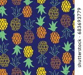 seamless tropical pattern.... | Shutterstock .eps vector #683693779
