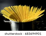 uncooked spaghetti boiling in a ... | Shutterstock . vector #683694901